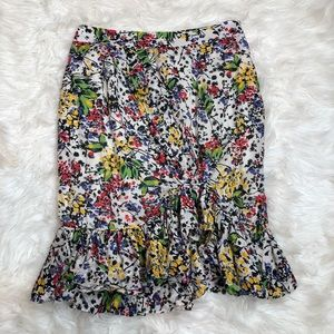 Anthropologie leifsdotter floral gathered skirt